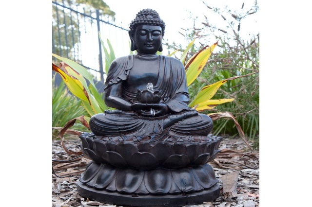Fiberglass Buddha Statue in Black Finish