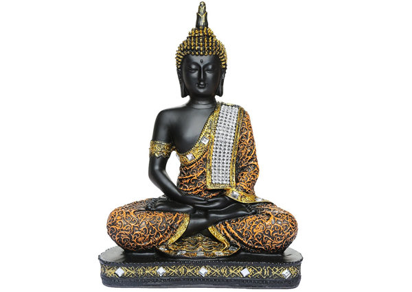 Fiberglass Black finish Artistic Buddha Statue
