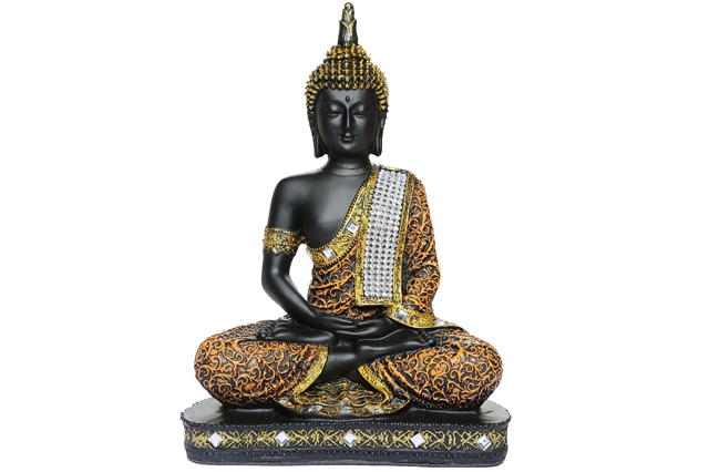 Fiberglass Black finish Artistic Buddha Statue