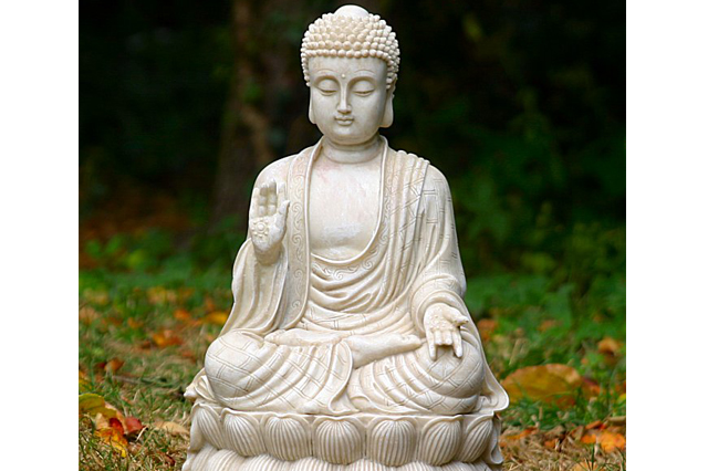 Fiberglass Buddha Off white and design finish