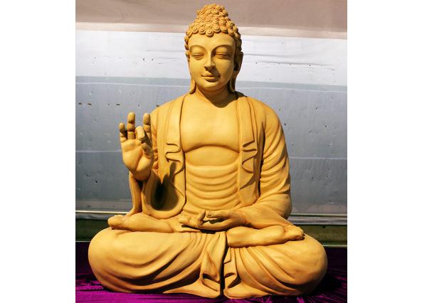 Fiberglass Buddha Off white finish