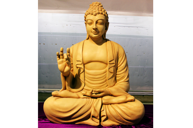 Fiberglass Buddha Off white finish