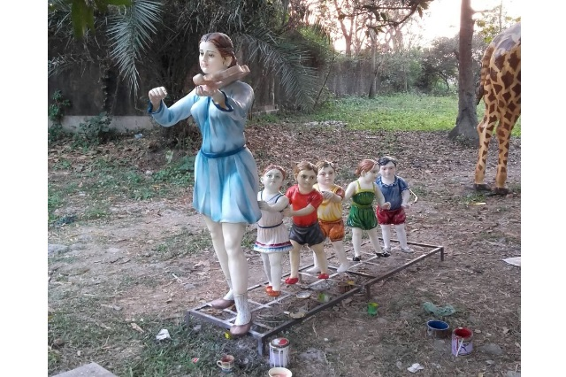 Fiberglass Garden Lady sculpture
