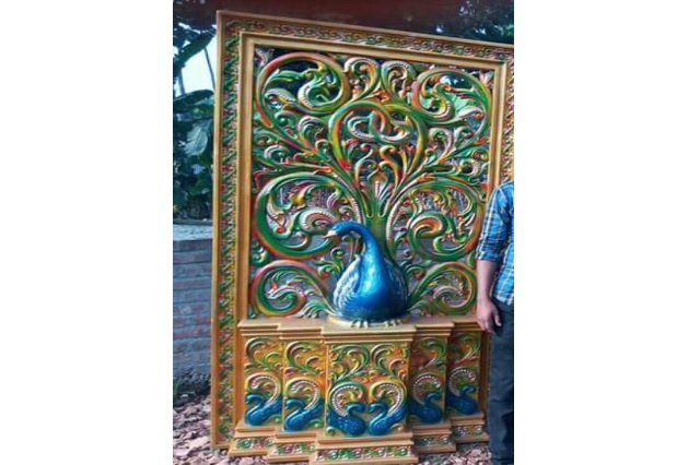 Fiberglass peacock design Back Drop