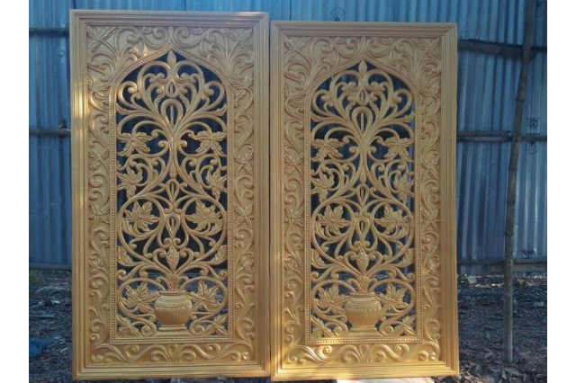 Fiberglass Golden finish jail Backdrop design