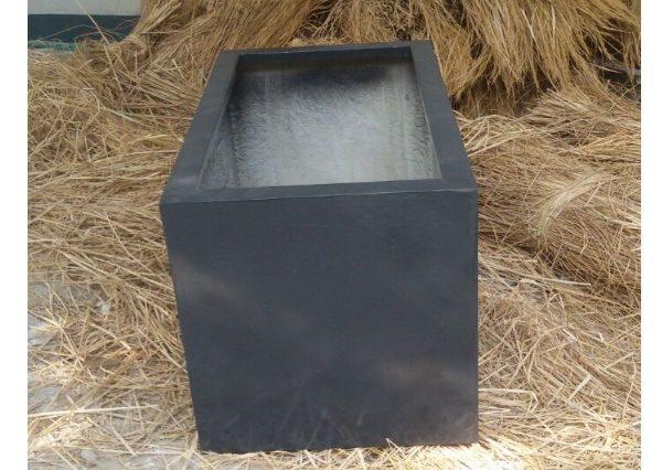 Fiberglass Dark Gray finish planter