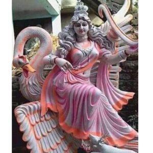 Fiberglass Pink Finish Saraswati Statue