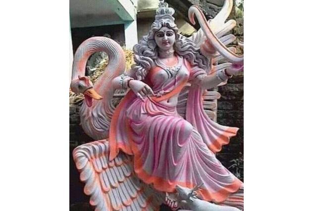 Fiber pink Finish Saraswati Statue