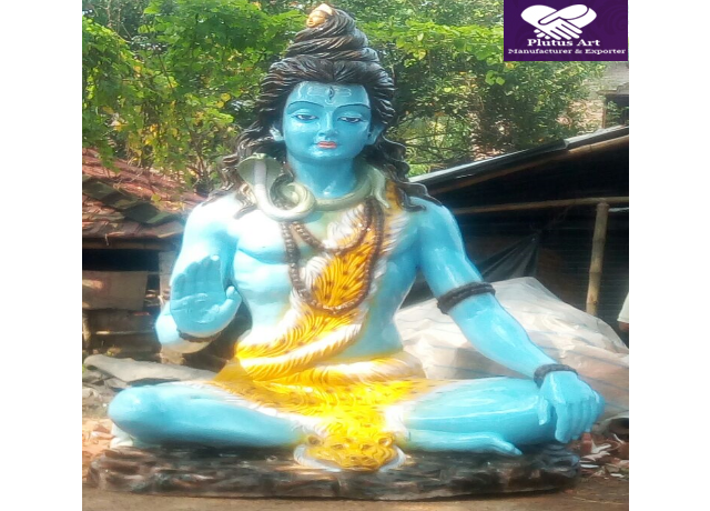 10 Feet Sitting Fiberglass Shiva Statue