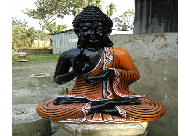 Fiber Black Buddha Statue