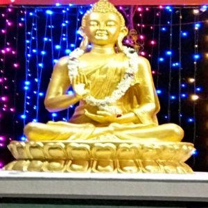 Fiberglass Light Golden Finish Lord Buddha Statue