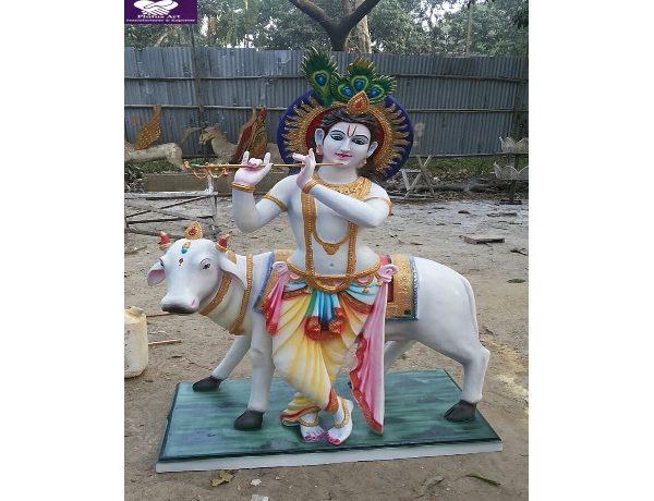 Fiber Krishna Cow Statue