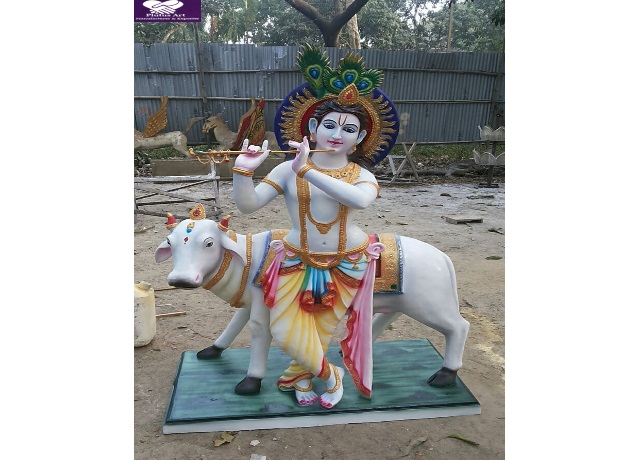 Fiber Krishna Cow Statue