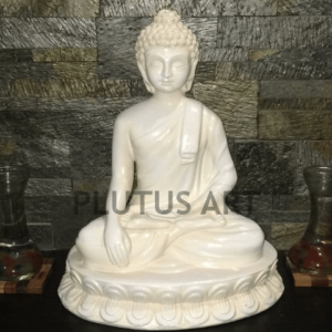 Plutus Art, Small Buddha Statue in white Finish