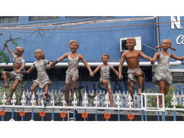 Fiberglass Children Garden Sculptures