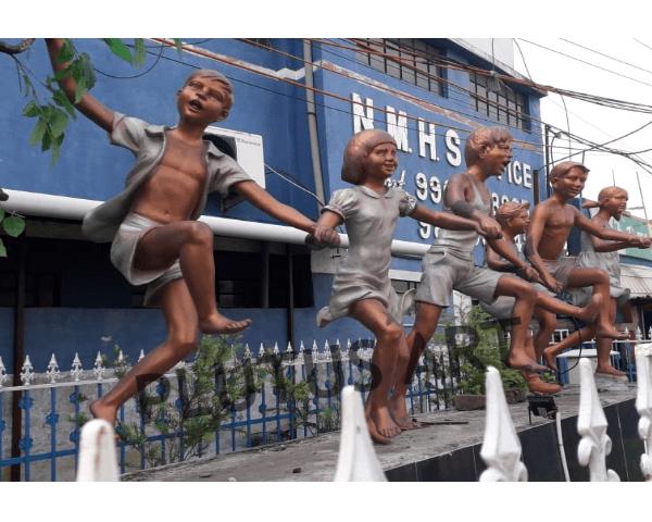 Fiberglass Children Garden Sculptures