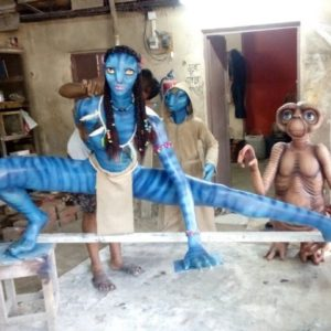 Fiber cartoon statue Avtar and jadu